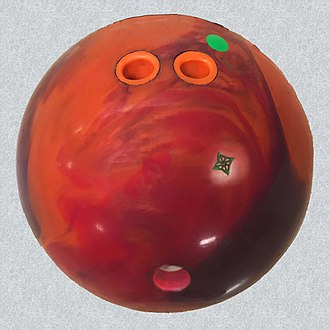 Glossary of bowling - Image: 20190118C Reactive resin bowling ball fingertip grip pin up