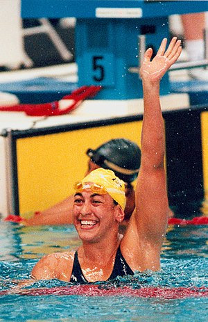 Swimming at the Summer Paralympics - Australian swimmer Priya Cooper acknowledges the crowd after another winning performance in the S8 class at the 1996 Atlanta Paralympic Games
