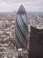 30 St Mary Axe (The Gherkin) 30 St Mary Axe, more commonly known as 'The Gherkin', seen from an adjoining building and giving a very different perspective on the subject.