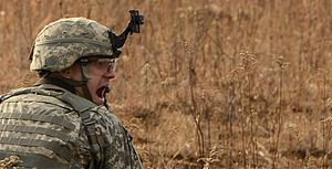 Commander-in-Chief's Guard (3rd Infantry Regiment) - A soldier in the Commander-in-Chief's Guard shouts directions during a live fire exercise in 2013.