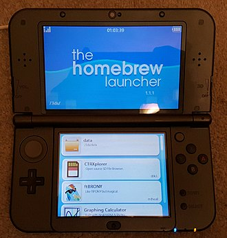 Homebrew (video games) - A New Nintendo 3DS XL running the Homebrew Launcher