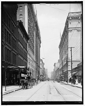 Seelbach Hotel - 4th St, one of the crossroads that The Seelbach sits on, in 1910.
