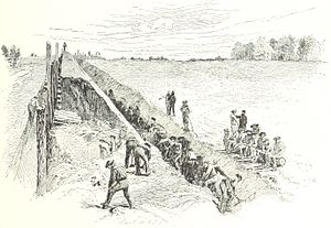 Battle of Big Bethel - The 4th Massachusetts Regiment works to fortify Camp Butler.