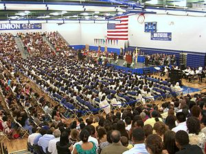 Union City High School - Commencement ceremony for the school's first graduating class, June 23, 2010. At the podium is New Jersey Supreme Court Justice Roberto A. Rivera-Soto, giving the keynote speech.