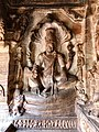 6th century Vishnu seated on Sesha in Cave 3, Badami Hindu cave temple Karnataka.jpg