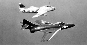 519th Air Defense Group - F-86A Sabre of the group's 75th FIS with US Navy F9F Cougar off Long Island