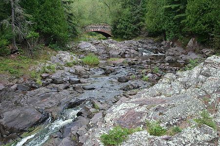 Rapids and bridge near Lake Superior in Duluth, Minnesota