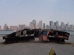 Exchange Place (Jersey City) - A memorial made from steel girders of the World Trade Center