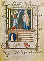 9 Workshop of Jean Pucelle. Annunciation. Miniature from Hours of Jeanne of Savoy. Musee Jacquemart Andree, Paris.jpg