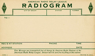 American Radio Relay League - ARRL radiogram delivery postcard, c. 1925