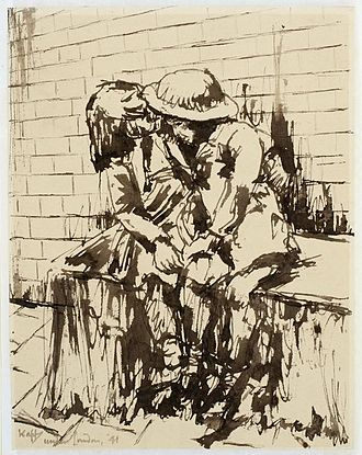 War Artists' Advisory Committee - A Brother and Sister Sheltering in the Underground, 1941, (Art.IWM ART LD 795), by Edmond Xavier Kapp