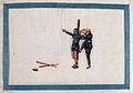 A Chinese man tortures a prisoner bound at the stake Wellcome V0041455.jpg