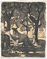 A Man Reading in a Garden (recto); Preliminary sketch for a Man Reading in a Garden (verso) MET DP138570.jpg