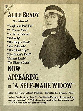 A Self-Made Widow - contemporary advertisement