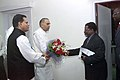 A delegation led by the Foreign Minister of Republic of Namibia, Mr. Marco Hausiku meets the Union Minister of Mines, Shri Sis Ram Ola to discuss bilateral cooperation in mining sector, in New Delhi on October 27, 2006 (1).jpg