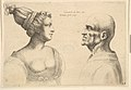 A female with hair tied back and a bald male facing each other MET DP823738.jpg