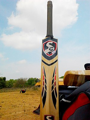 Cricket bat - A modern SG cricket bat (back view)