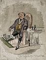 A seated gouty man with his bandaged leg on a gout stool. Co Wellcome V0011155.jpg