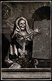 A skeleton holding an inscribed plaque. Mezzotint. Wellcome V0042159.jpg