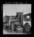 A truck driver checking the oil. He is with a United States Army truck convoy carrying supplies for the aid of Russia, 8d29399.tif