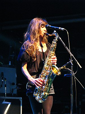The Zutons - Abi Harding playing the saxophone