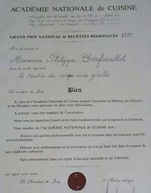 Philippe cerfeuillet wikip dia for Academie de cuisine