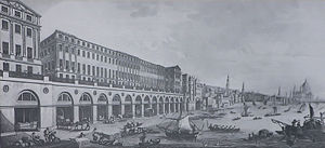 Adelphi, London - The Adam Brothers' Adelphi (1768–72) was London's first neoclassical building. Eleven large houses fronted a vaulted terrace, with wharves beneath.