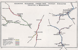 """Little"" North Western Railway - Map of lines from Clapham to Ingleton and Wennington in 1903 (left of diagram)"