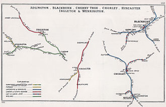 Lancashire Union Railway - Lines around Chorley and Blackburn in 1903 (right of diagram)