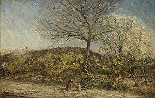 Landschap met bloeiende boomgaard