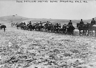 Siege of Adrianople (1912–13) - Siege artillery arriving before Adrianople, 3 November 1912.