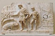 Roman bas-relief, 2nd century: Aeneas lands in Latium, leading Ascanias; the sow identifies the place to found his city (Book 6)