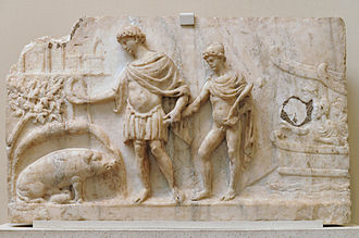 Aeneid - Roman bas-relief, 2nd century: Aeneas lands in Latium, leading Ascanius; the sow identifies the place to found his city (book 8).