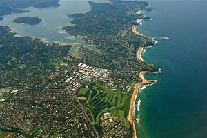 Pittwater - Aerial view of a part of Sydney's Northern Beaches, with Pittwater and Scotland Island on the left.