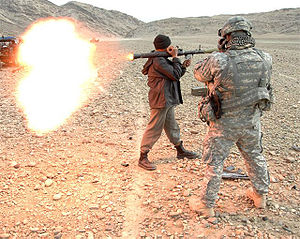Type 69 RPG - Afghan National Police officer fires a Type 69 RPG round at a special mission conducted by U.S. Army