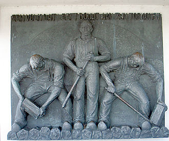 "Hildo Krop - Afsluitdijk monument, 1940.  Legend:  ""A nation that lives builds for the future"""