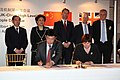 Agreement signed to support learning of Mandarin Chinese in the UK, signed by Joanna Burke, Director, British Council in China and Ma Jianfei, Hanban Director-General, London, 16 April 2012.jpg