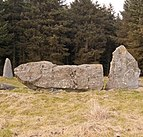 Recumbent stone (centre) at Aikey Brae