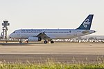 Air New Zealand (ZK-OJF) Airbus A320-232 waiting at Echo holding point at Sydney Airport.jpg