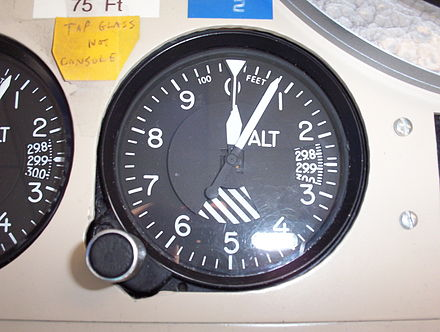 Kollsman-type barometric aircraft altimeter (as used in North America) displaying an altitude of 80 ft (24 m). Aircraft altimeter.JPG