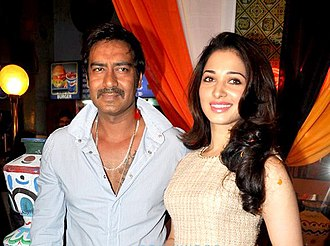 Tamannaah - Tamannaah at the trailer launch of the film Himmatwala along with Ajay Devgn in January 2013, which marked her comeback to Hindi films