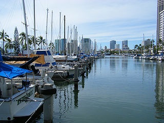 Small boat and yacht harbor in Hawaii
