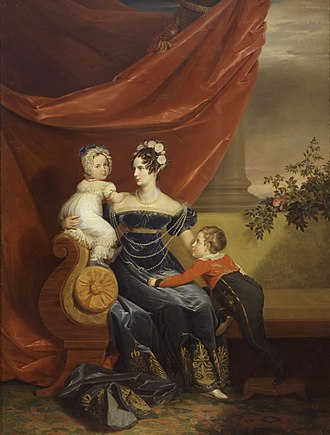 Alexandra Feodorovna (Charlotte of Prussia) - Alexandra Feodorovna with her two eldest children, the Tsarevich Alexander, and the Grand Duchess Maria Nikolaevna, c. 1820