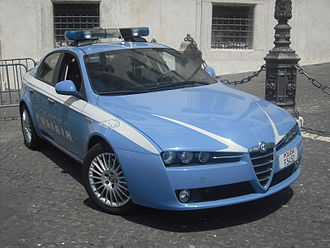 "Reparto volanti - The cars currently supplied to Flying Squads, identified by traditional panther on the side, are the Alfa Romeo 159 2.4 JTDM (200 bhp), the second type of vehicle after the Fiat Marea specially designed to perform emergency service with only two operators board: driver and patrol chief . On other cars, however, can also be a ""wingman"" for extraordinary services to control the territory (patrols) or prevention."