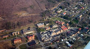 Alfred University - Aerial view of Alfred University taken in April 2006