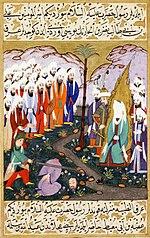 Ali Beheading Nadr ibn al-Harith in the Presence of the Prophet Muhammad. Miniature from volume 4 of a copy of Mustafa al-Darir's Siyar-i-Nabi. Istanbul; c. 1594 The David Col.