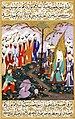 Ali Beheading Nadr ibn al-Harith in the Presence of the Prophet Muhammad. Miniature from volume 4 of a copy of Mustafa al-Darir's Siyar-i-Nabi. Istanbul; c. 1594 The David Col..jpg
