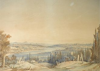 Eyüp - View from Eyüp towards the Golden Horn painted by the Maltese 19th-century watercolour artist Amedeo Preziosi.