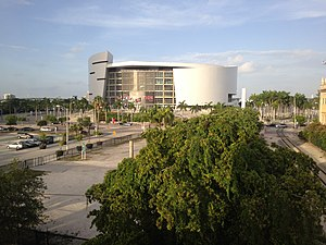 American Airlines Arena - The arena as seen from Freedom Tower station.