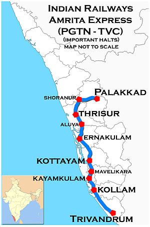 Amritha Express (Palakkad - Trivandrum) Route map
